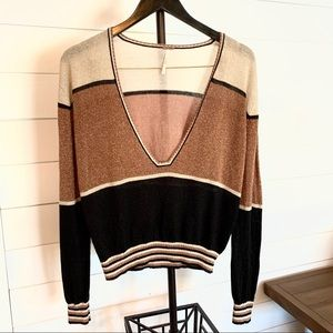 Free People gold dust metallic color block sweater